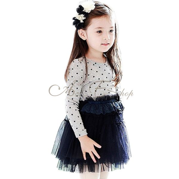 Fairy Girl Kid Polka Dots Top High Waist Tutu Party Dress Skirt Clothes Sz 2 7 Y