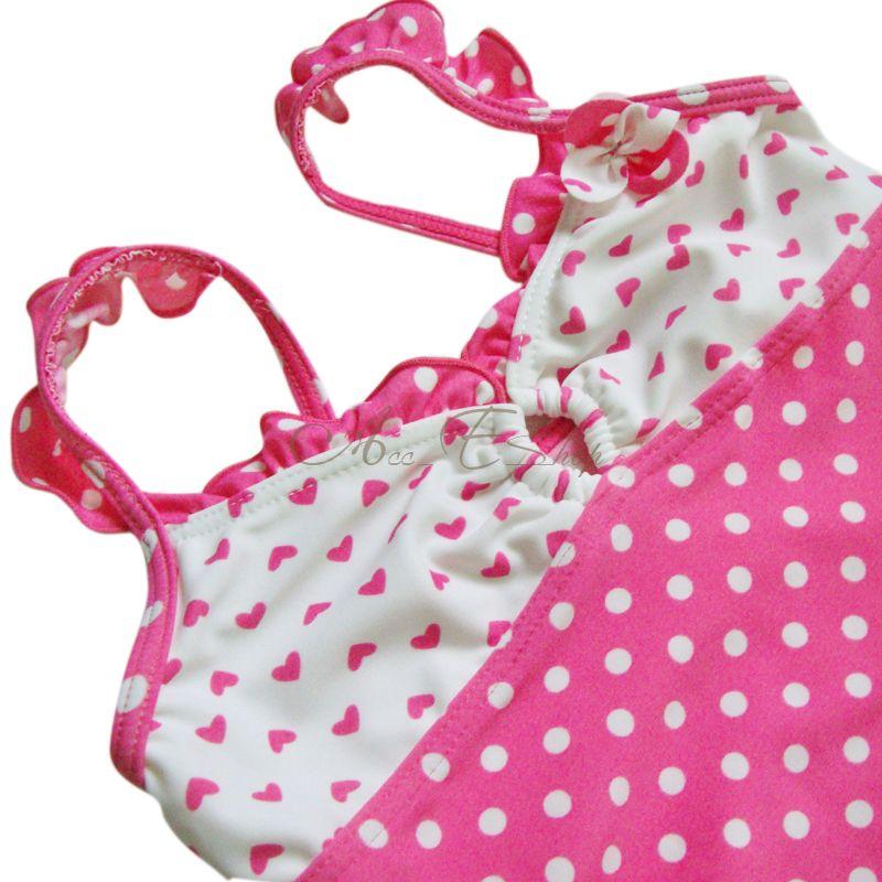 Girls 2pc Polka Dots Tankini Swimsuit Swimwear Bathing Swimming Costume Sz 4 7 Y