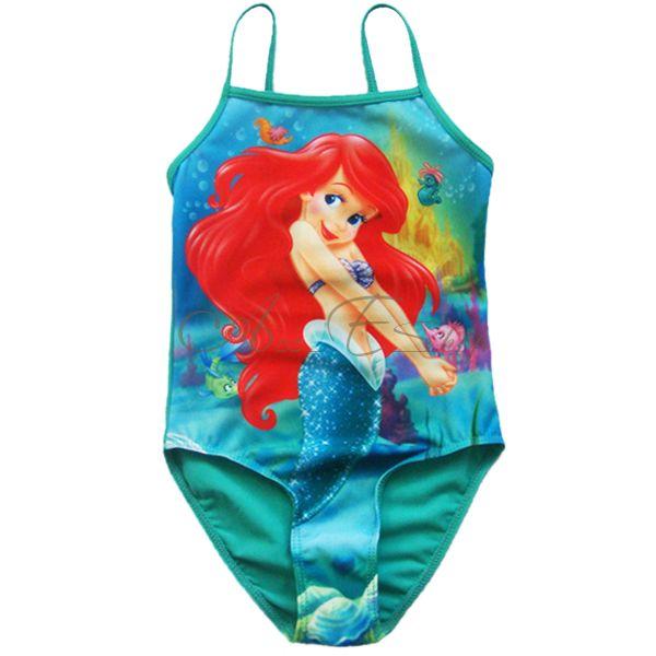 Girl Kid Princess Ariel Mermaid Swimsuit Swimwear Swim Costume Bathing 2T 4T