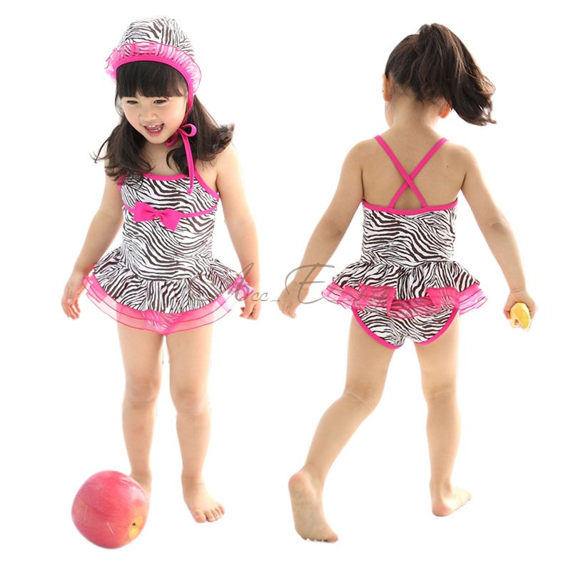 Girl Kid Zebra Swimsuit Swimwear Pink Tutu Swimming Costume Bathing Suit Sz 3 7