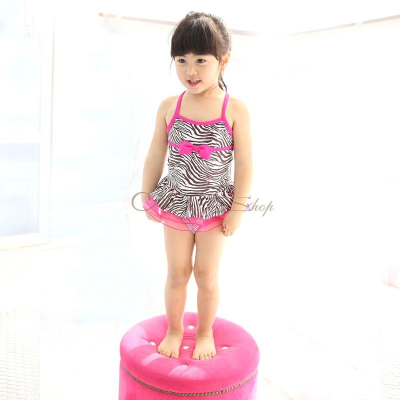 Girl Kid Zebra Swimsuit Swimwear Pink Tutu Swimming Costume Bathing Suit Sz 3 7