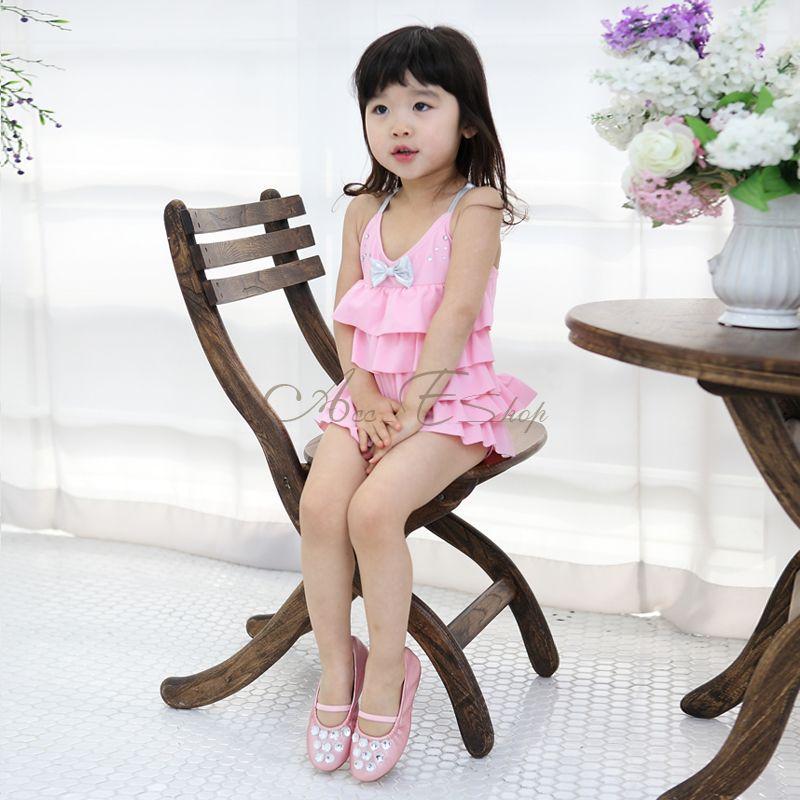 Pink Girl Ruffle Layered Swimsuit Swimwear Swimming Costume Beachwear Sz 3 7