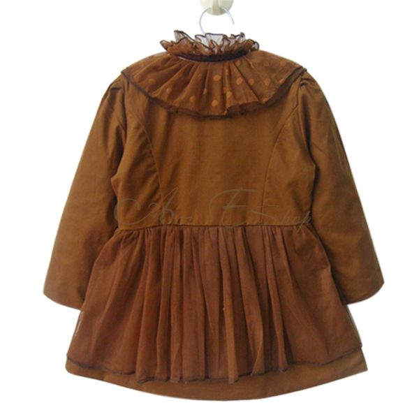 Girl Kid Double Breasted Tulle Collar Outwear Trench Coat Jacket Costume Sz 2 7