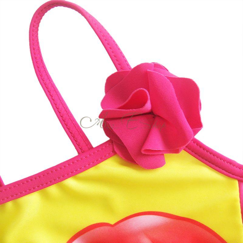 Girls Ruffle Layered Ariel Mermaid Swimsuit Swimwear Bathing Suit Costume Sz 3 6