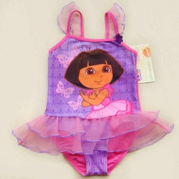 2 8years 2T 4T Girl Child w Skirt Dora Explore Swimsuit Bathing Swimming Dress