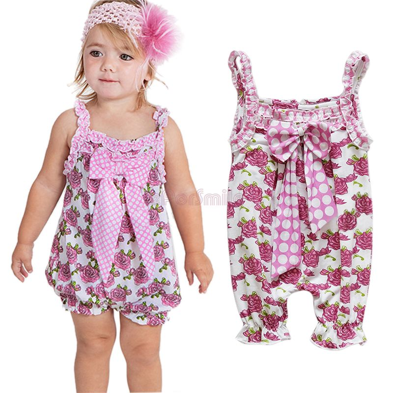 b4a44dba8 1pc Cotton Baby Girl Infant Bowknot Romper Outfit Clothes Playsuit ...