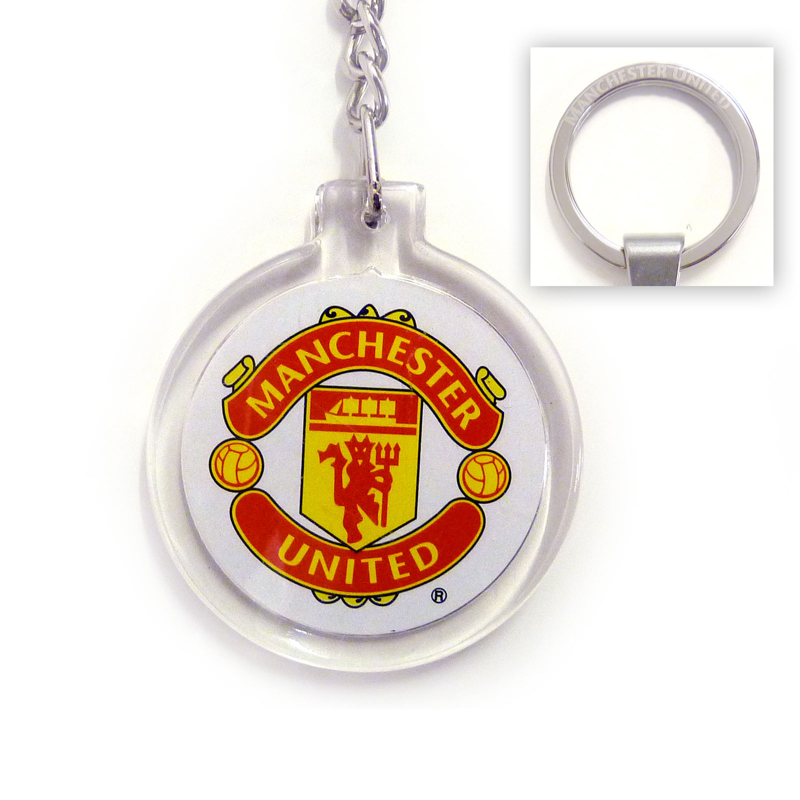 Details About Manchester United Football Club Official Soccer Gift Acrylic Crest Keyring