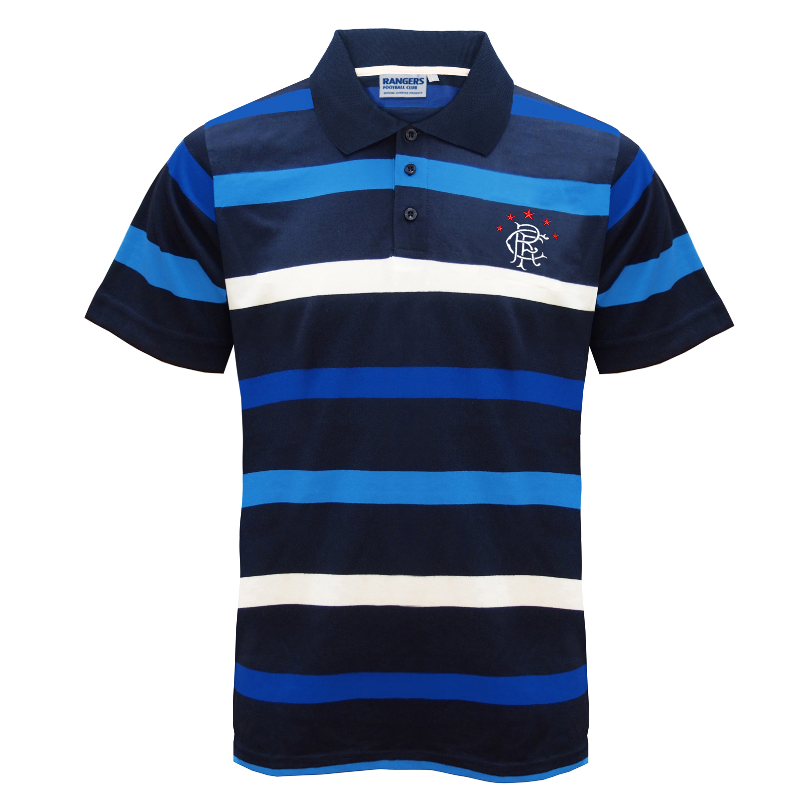 Rangers FC Official Football Gift Mens Striped Polo Shirt  9f3070f21