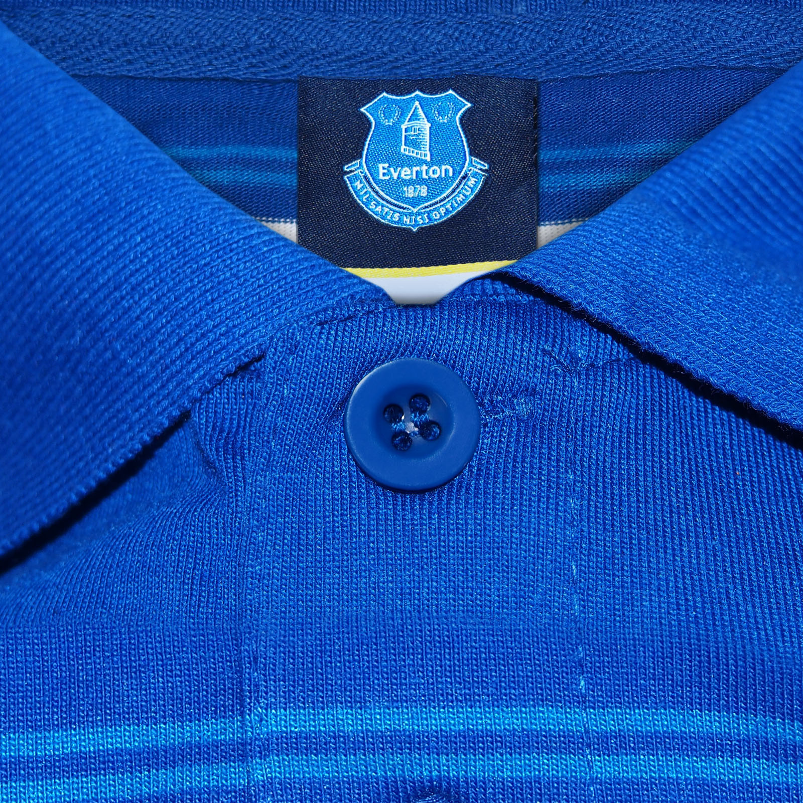 Everton FC Official Football Gift Mens Striped Polo Shirt Blue