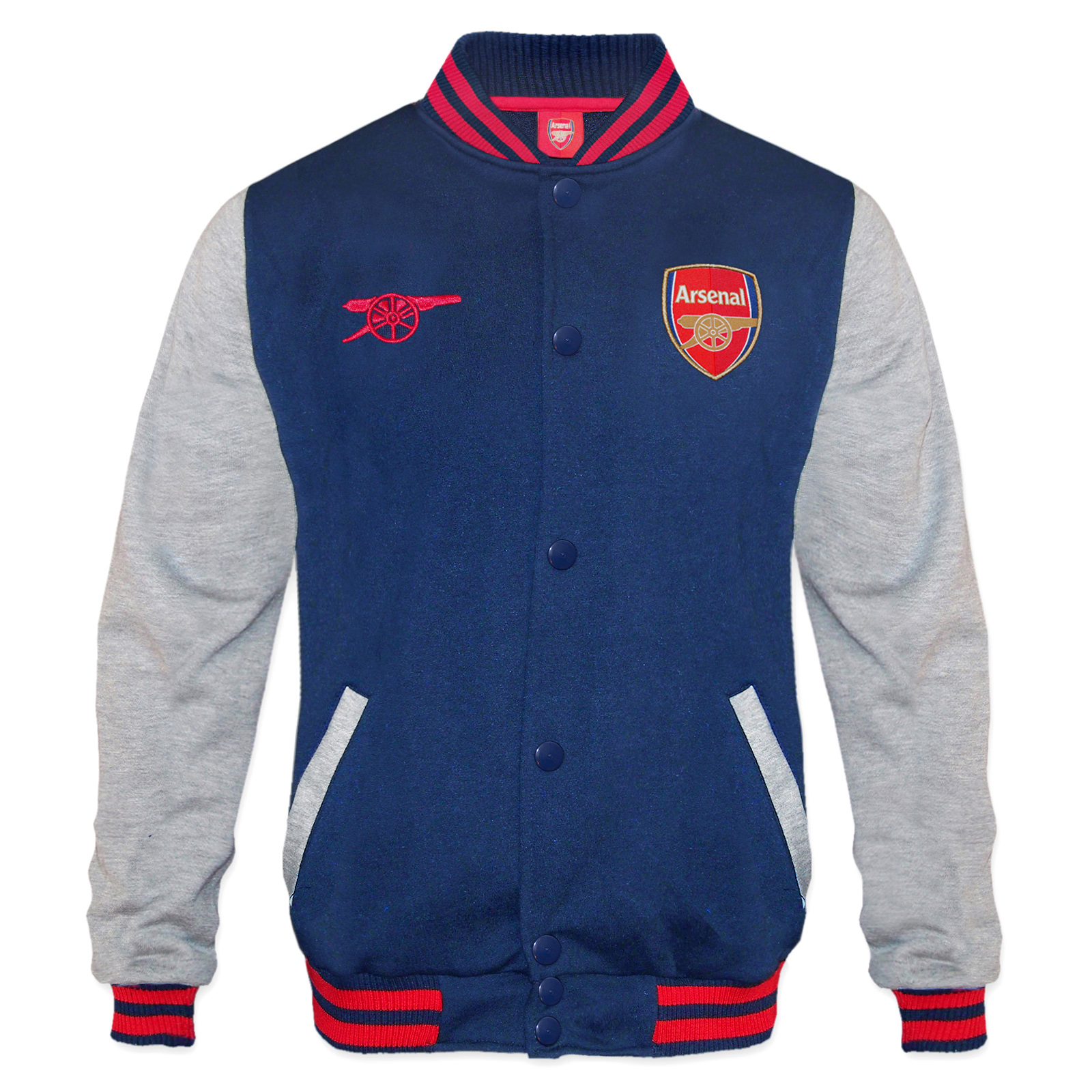 finest selection 49854 19dd3 Details about Arsenal Football Club Official Soccer Gift Mens Retro Varsity  Baseball Jacket