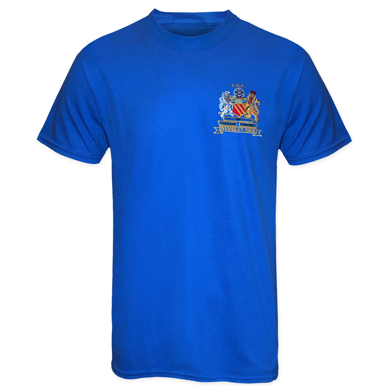 Football-Legends-Best-amp-Charlton-in-Manchester-United-1968-Retro-Kit-T-Shirt thumbnail 4