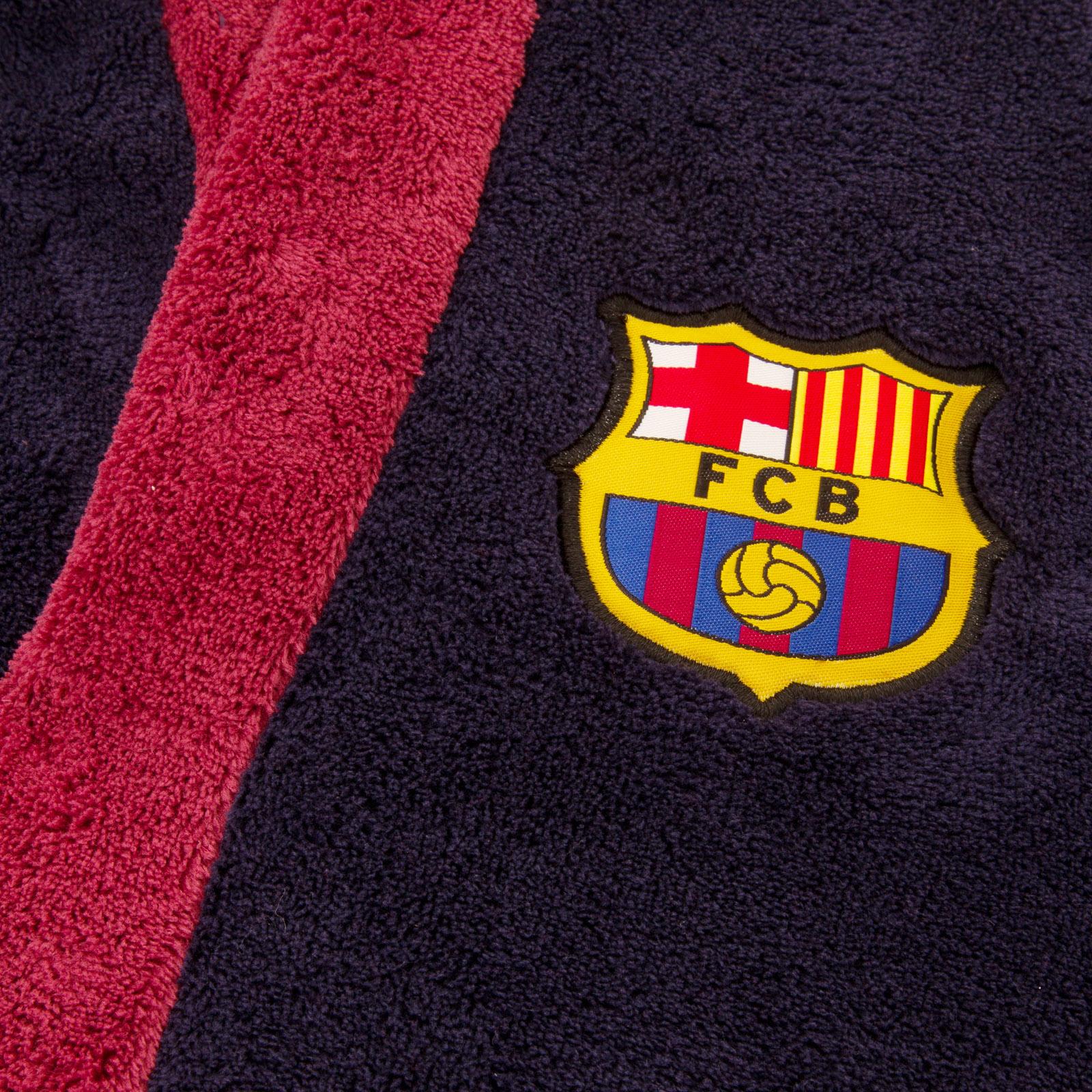 FC-Barcelona-Official-Football-Gift-Boys-Hooded-Fleece-Dressing-Gown-Robe miniatuur 7