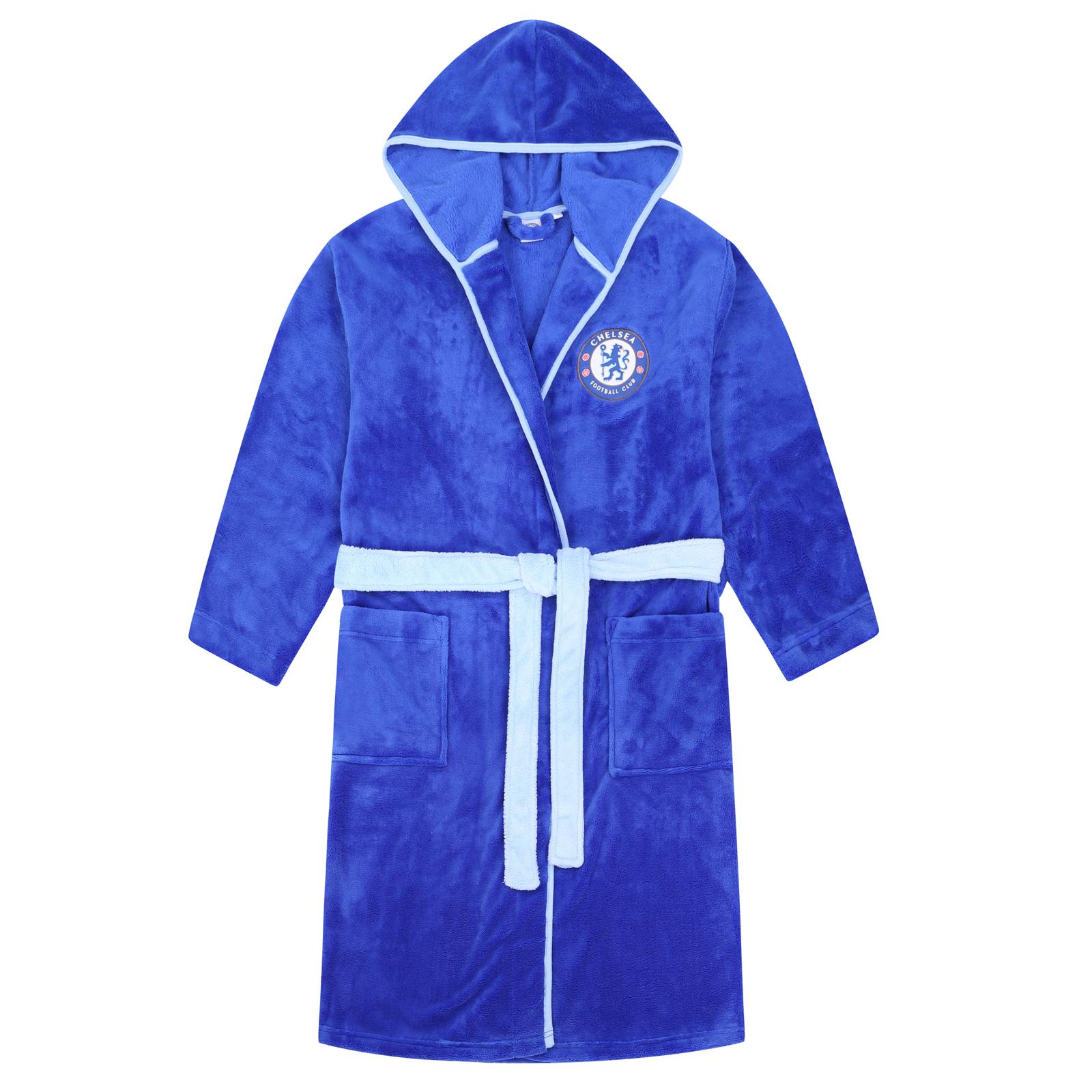 New Official Chelsea FC Soft Fleece Football Dressing Gown Bath Robe Nightwear Blue Mens