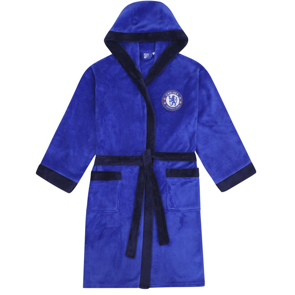Chelsea FC Official Football Gift Mens Hooded Fleece Dressing Gown Robe