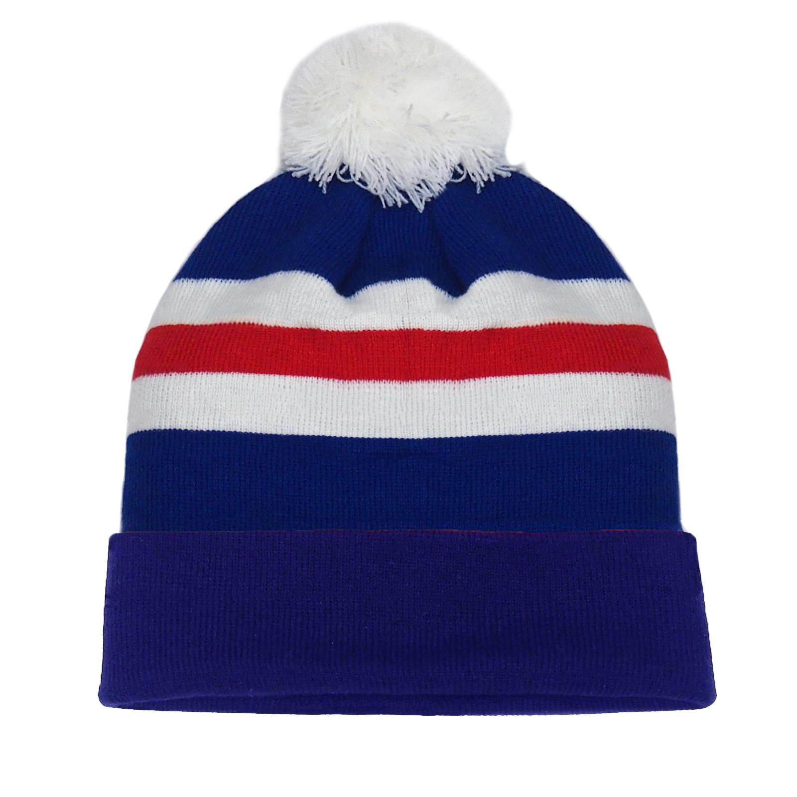 fan originals Retro Football Bobble Hat in Aston Villa Colours Claret Blue