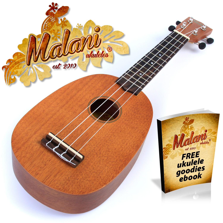 malani pineapple ukulele mahogany soprano ukelele uke in natural mahogany ebay. Black Bedroom Furniture Sets. Home Design Ideas