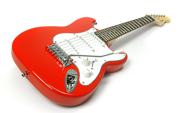 red 3 4 size childrens childs electric guitar kids three quarter scale. Black Bedroom Furniture Sets. Home Design Ideas