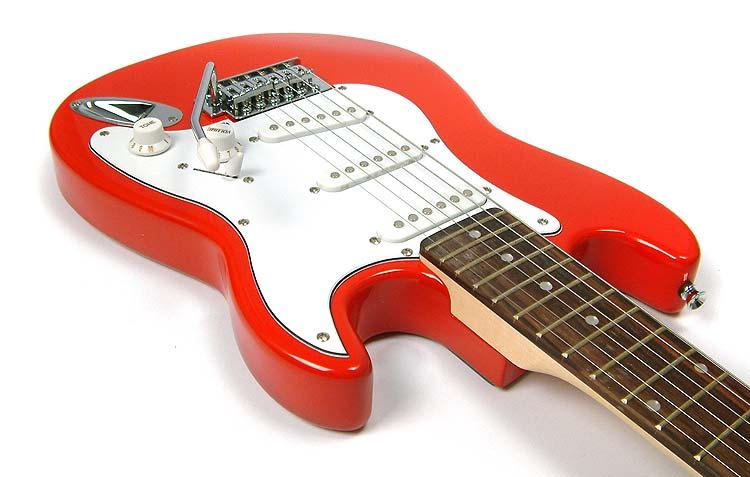 red 3 4 size childrens childs electric guitar kids three quarter scale. Black Bedroom Furniture Sets. Home Design Ideas