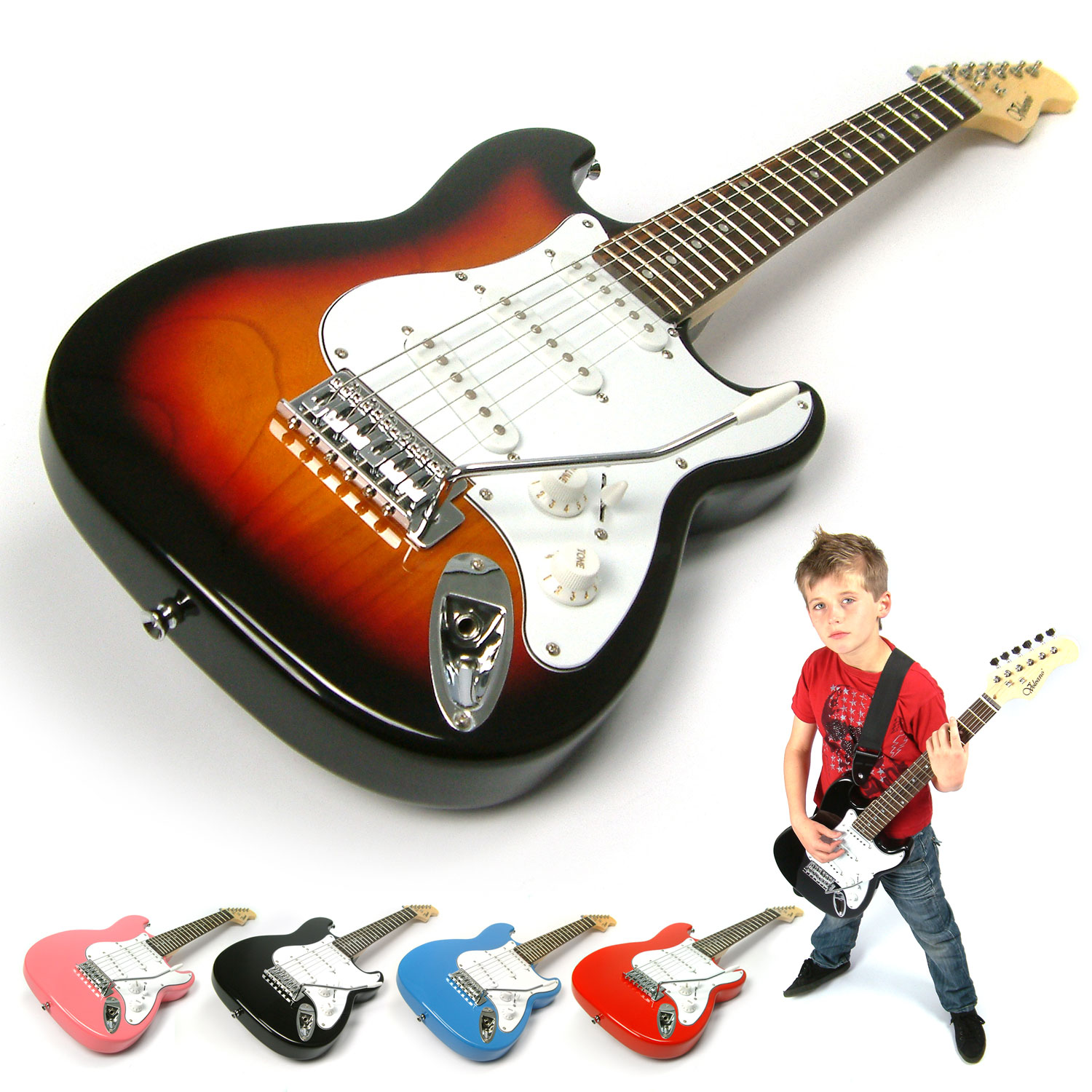 pink 3 4 size childrens childs electric guitar kids three quarter scale ebay. Black Bedroom Furniture Sets. Home Design Ideas