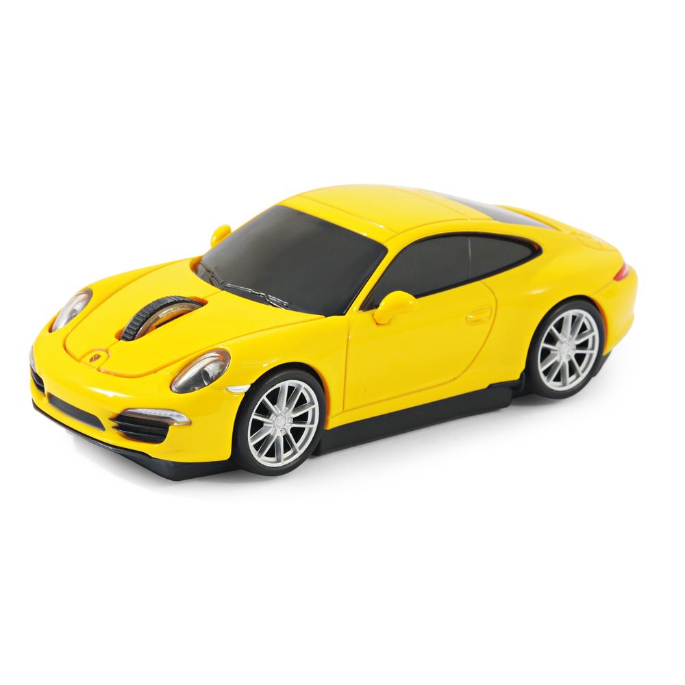 souris sans fil laser forme voiture porsche 911 991 carrera s jaune officiel. Black Bedroom Furniture Sets. Home Design Ideas