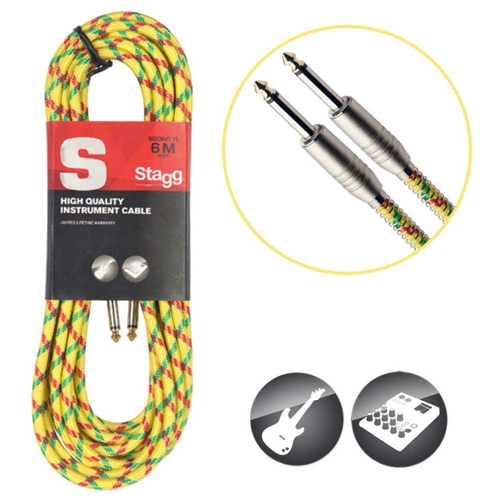 Stagg-Vintage-Tweed-Instrument-Cable-Jack-a-Jack-Cable-6-Metres-Couleurs-diverses