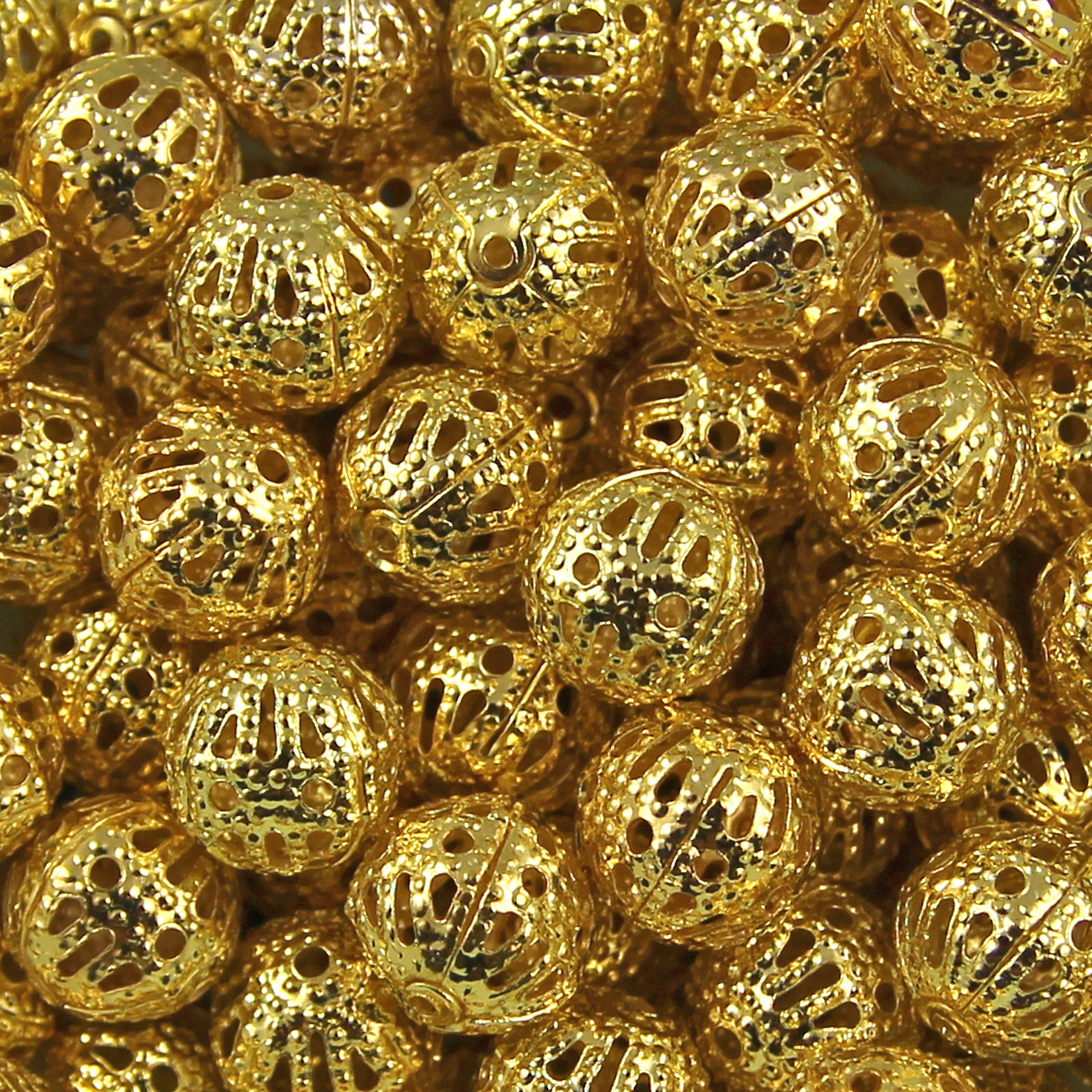 Gold Plated Silver Antique Beads: Gold & Silver Plated Metal Filigree Spacer Beads