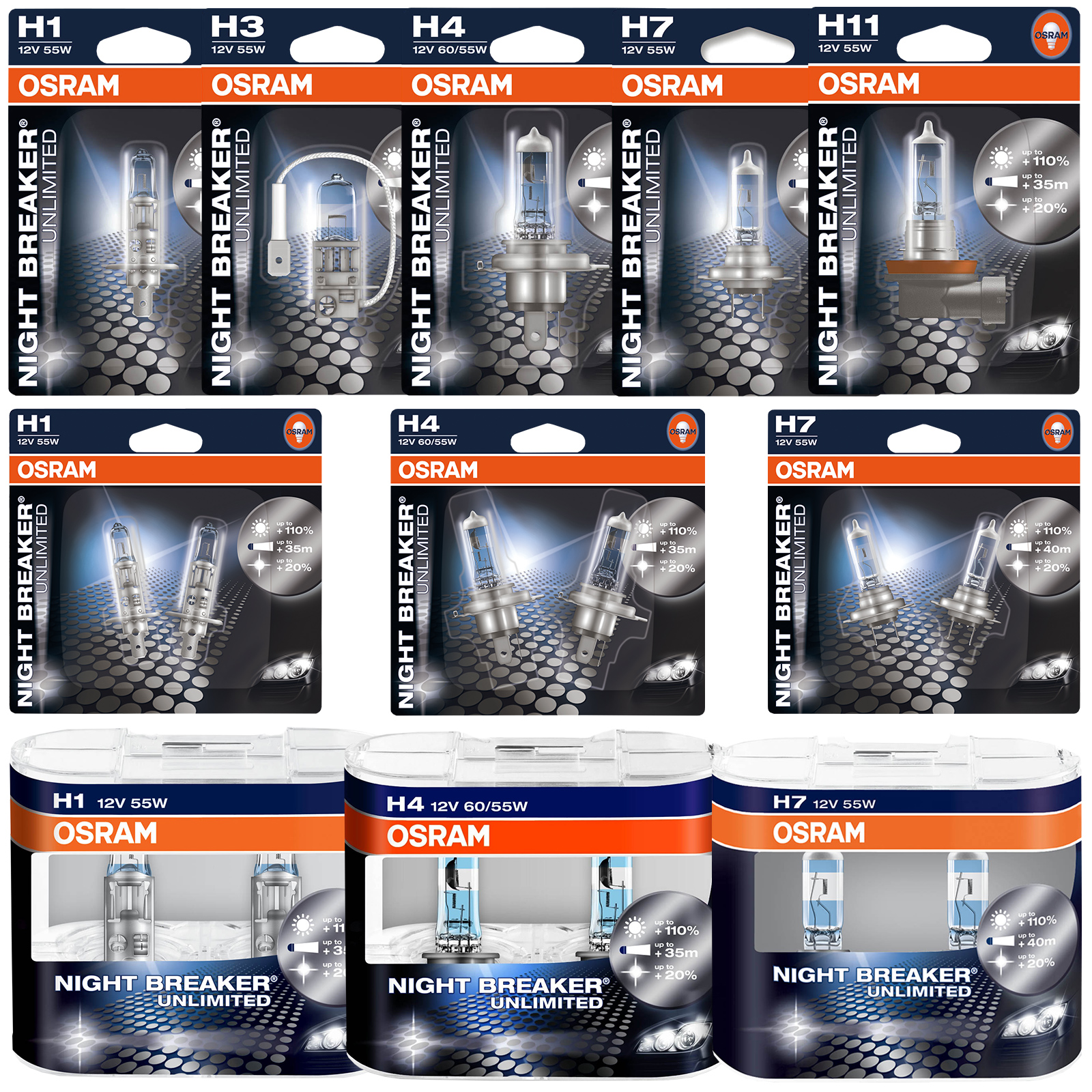 osram night breaker unlimited car bulbs h1 h3 h4 h7 h11 hb3 hb4 fittings here ebay. Black Bedroom Furniture Sets. Home Design Ideas