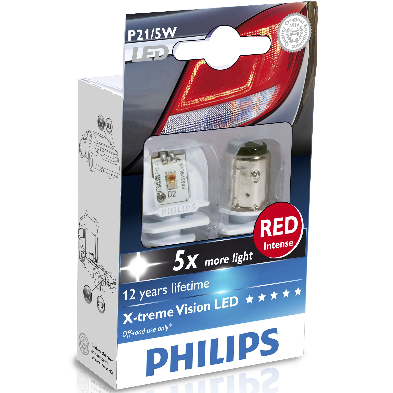 philips x treme vision p21 5w red led retrofit bulbs ebay. Black Bedroom Furniture Sets. Home Design Ideas
