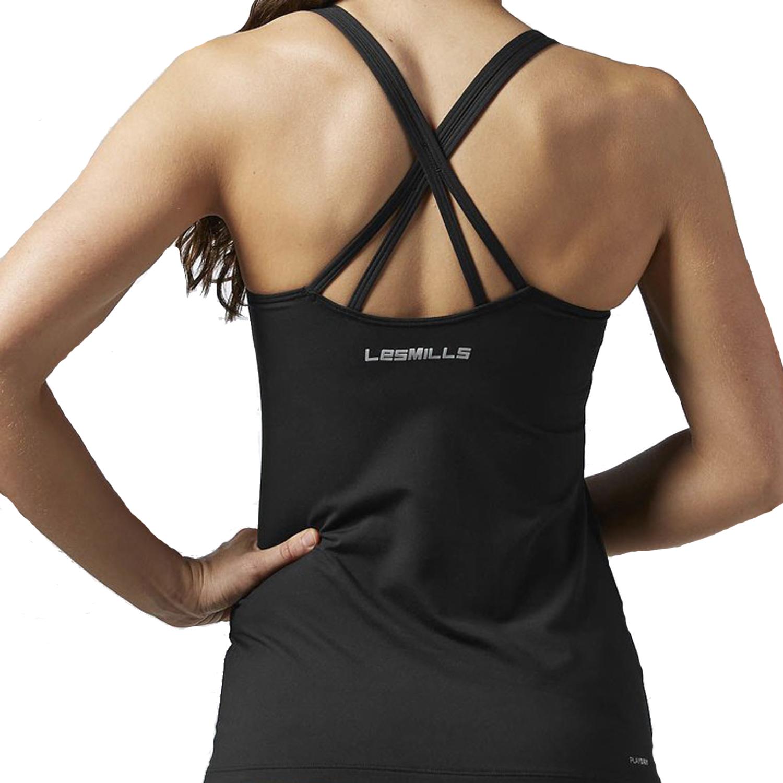 Reebok les mills womens graphic long bra vest tank top for Racerback t shirt bra