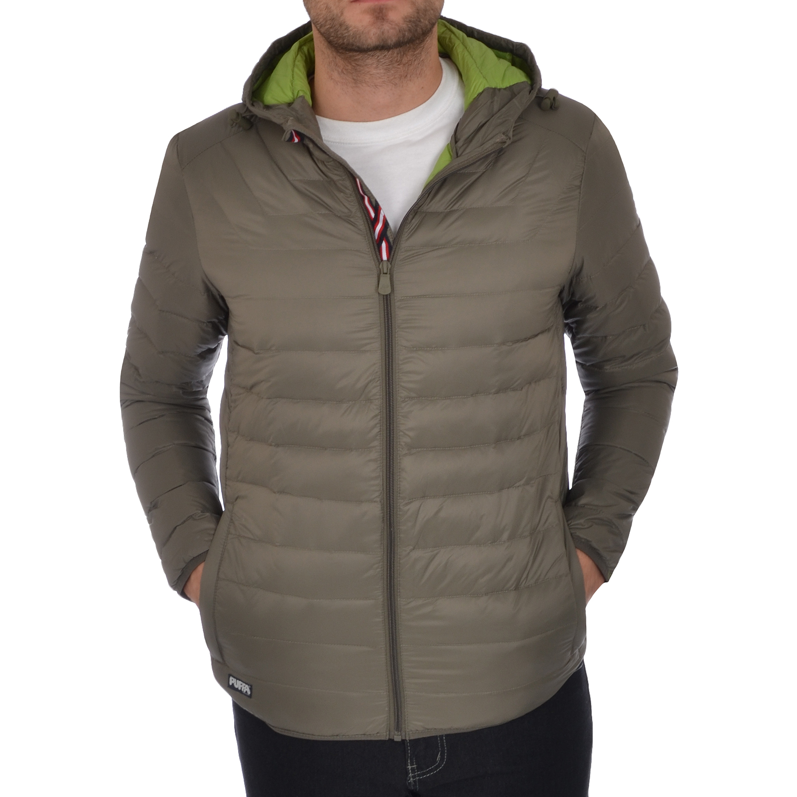 Product Features Men's hooded down puffer jacket ideal for daily wear in chilly, damp conditions.