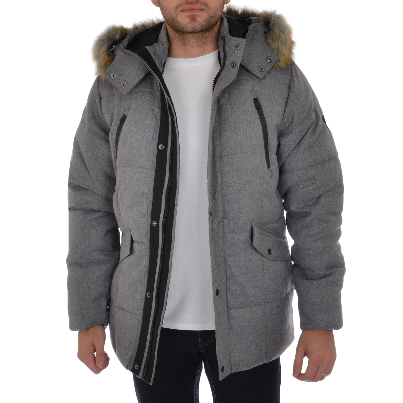 Puffa Mens Faux Fur Hooded Parka Jacket Padded Quilted Winter Coat ...