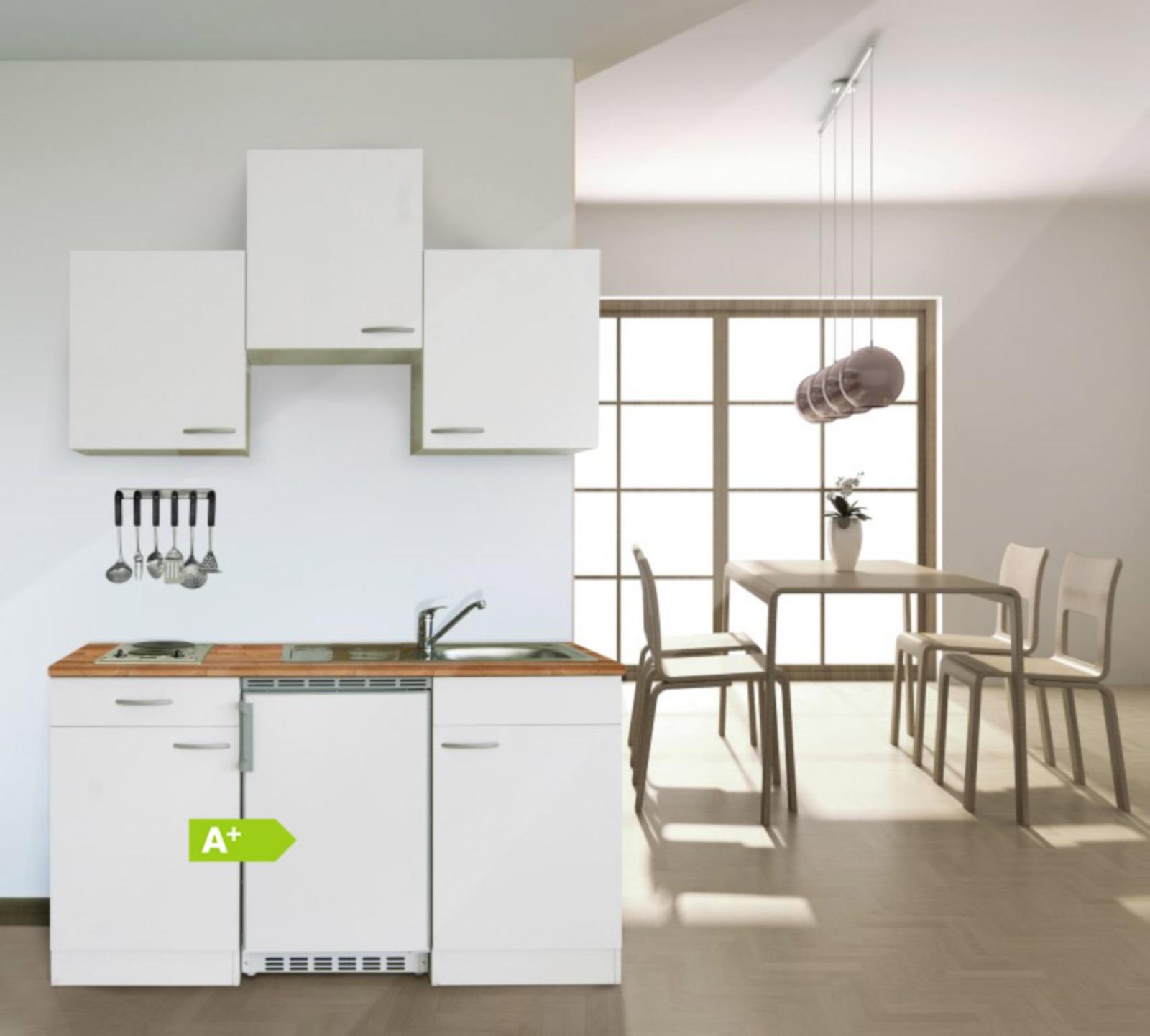 Mini küchenzeile  Respekta Küchenzeile Küchenblock Single Mini Küche WEISS rot 150 Cm ...