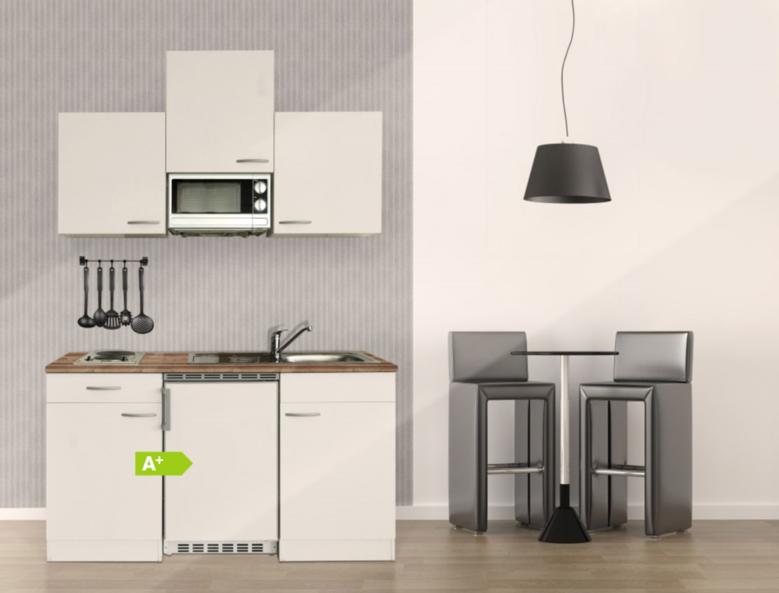 Miniküche Mit Ceranfeld Ohne Kühlschrank : Respekta single mini küche küchenzeile küchenblock 150 cm weiss grau