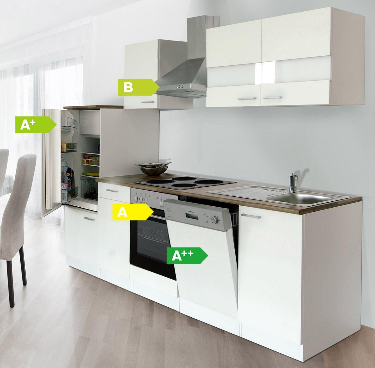 k chenzeile 280 cm wei kaminhaube k che k chen k chenblock k chenm bel ebay. Black Bedroom Furniture Sets. Home Design Ideas