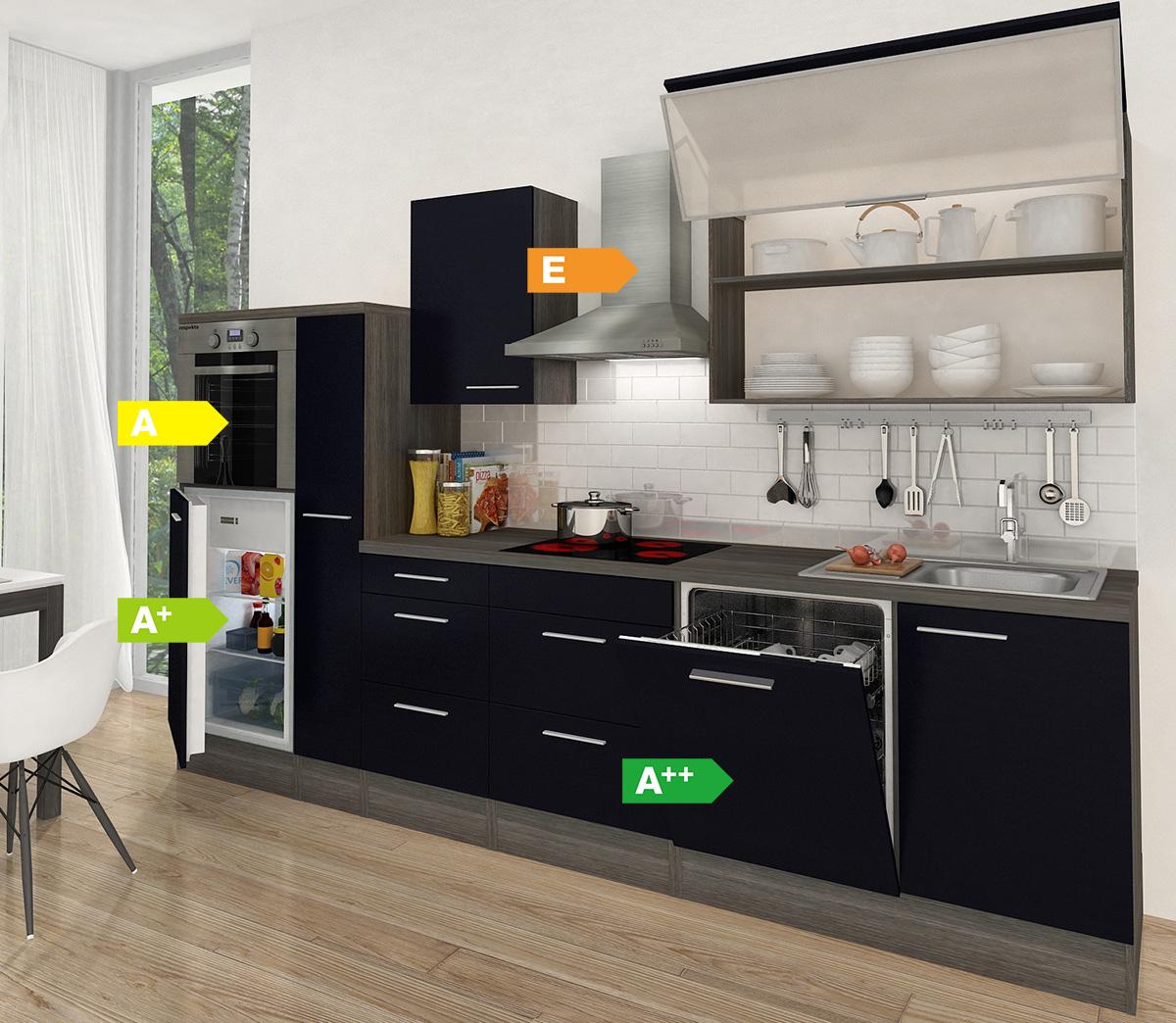 Küchenzeile Premium 310cm Eiche grau Nachb.,Backofen oben, vers ...