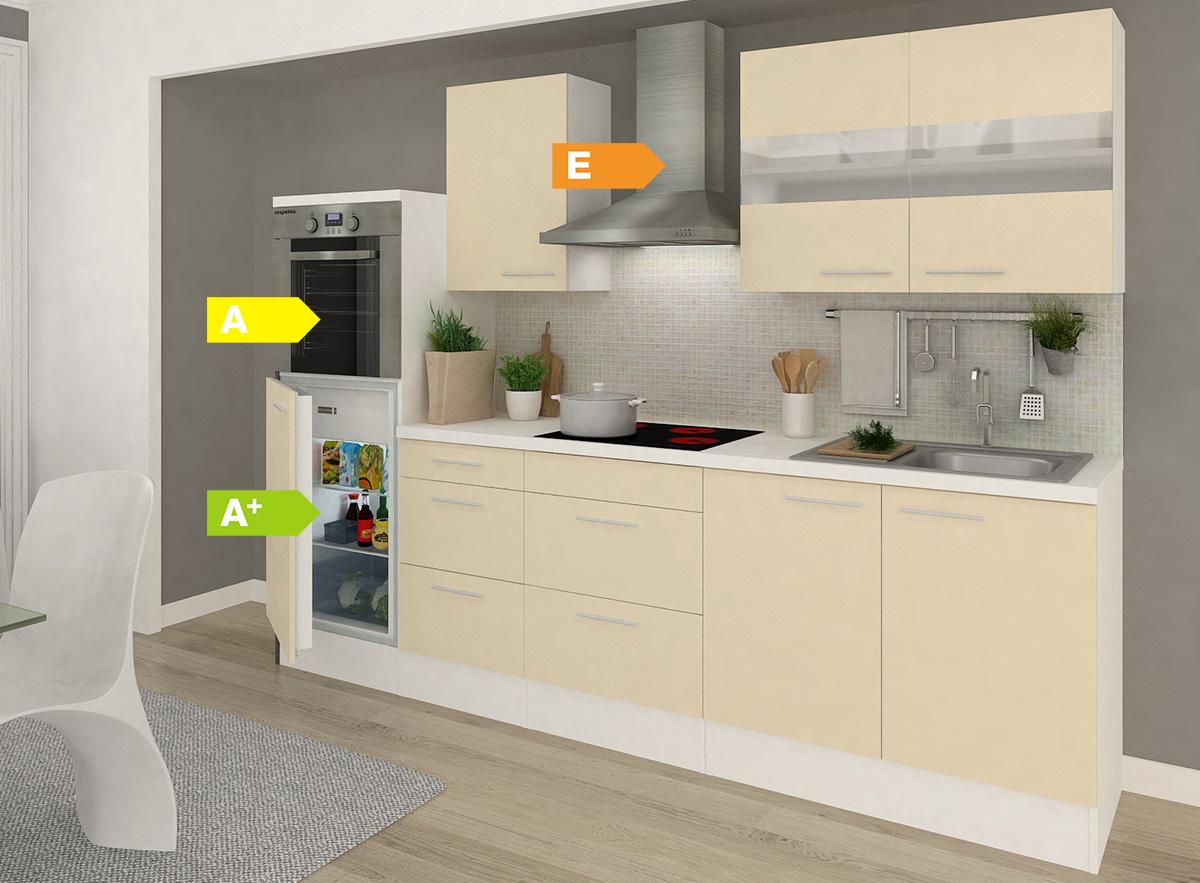 respekta premium k chenzeile rp270hww 270 cm wei vers farben k chen k che ebay. Black Bedroom Furniture Sets. Home Design Ideas