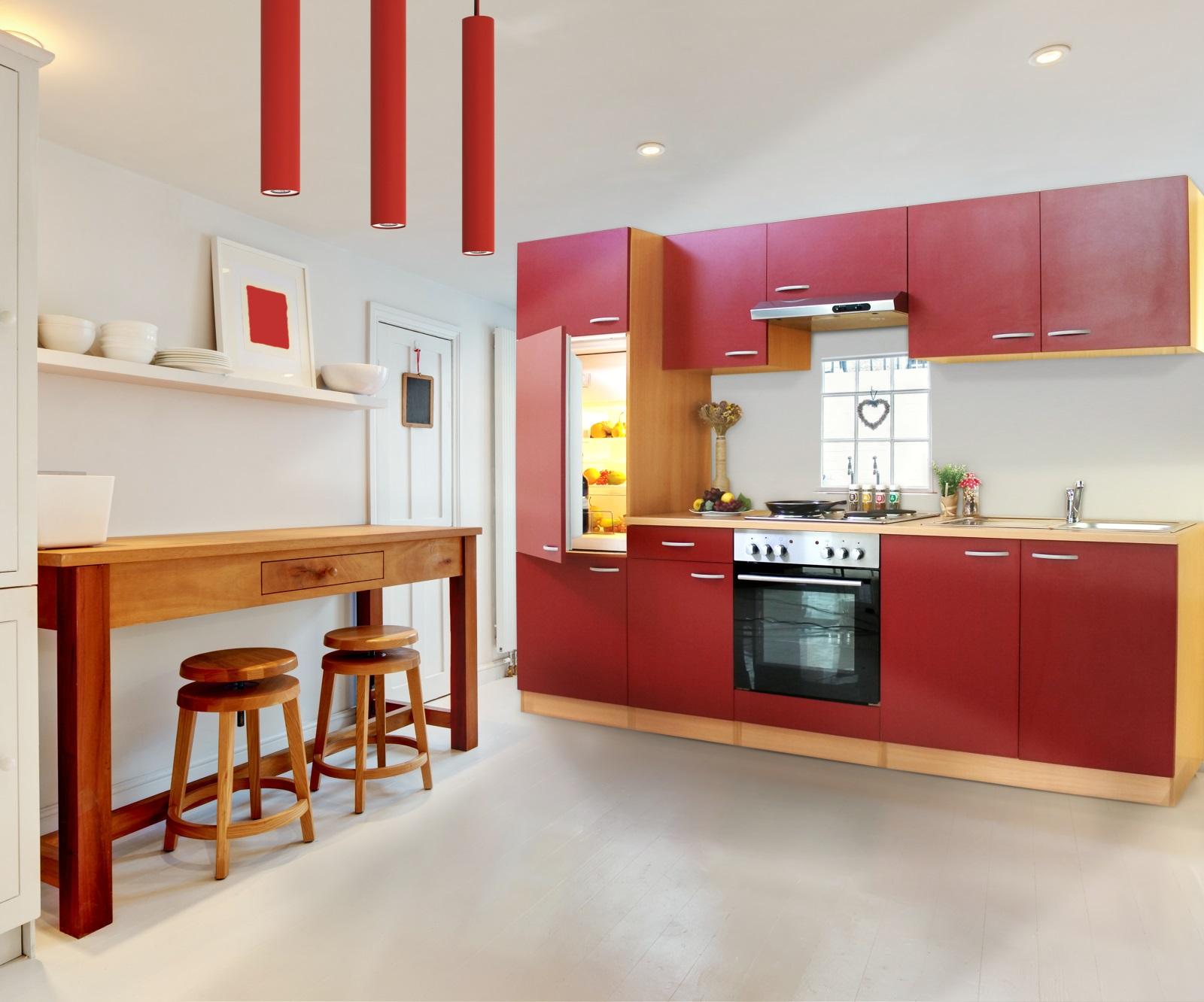 Küchenzeile 270 cm Buche rot Einbauküche Küche Komplett
