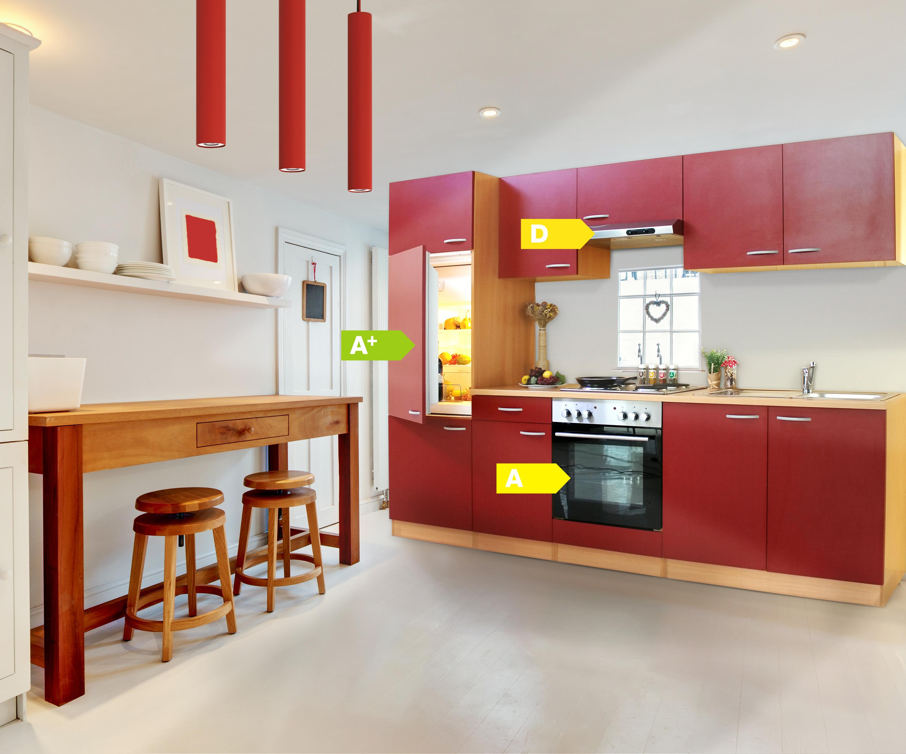 k chenzeile 270 cm buche rot einbauk che k che komplett. Black Bedroom Furniture Sets. Home Design Ideas