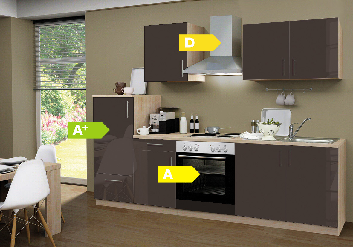 menke k chen k chenzeile premium lack 270 cm k chenblock k che k chenschr nke ebay. Black Bedroom Furniture Sets. Home Design Ideas