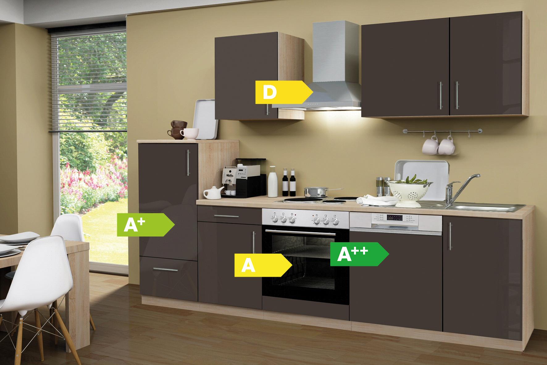 Menke Küchen Küchenzeile Premium Lack 280 cm, Geschirrspüler, Küche ...