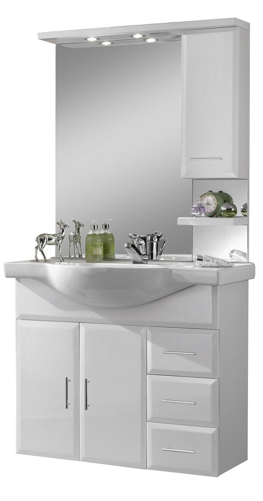 wien 2 komplettbad in hochglanz wei badblock badschr nke badezimmerschrank ebay. Black Bedroom Furniture Sets. Home Design Ideas