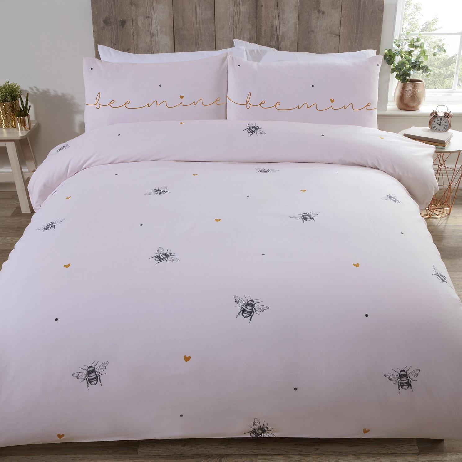 Bee Mine King Duvet Cover Heart Bumble Bee Quilt Bedding Set Ochre Yellow Pink Ebay