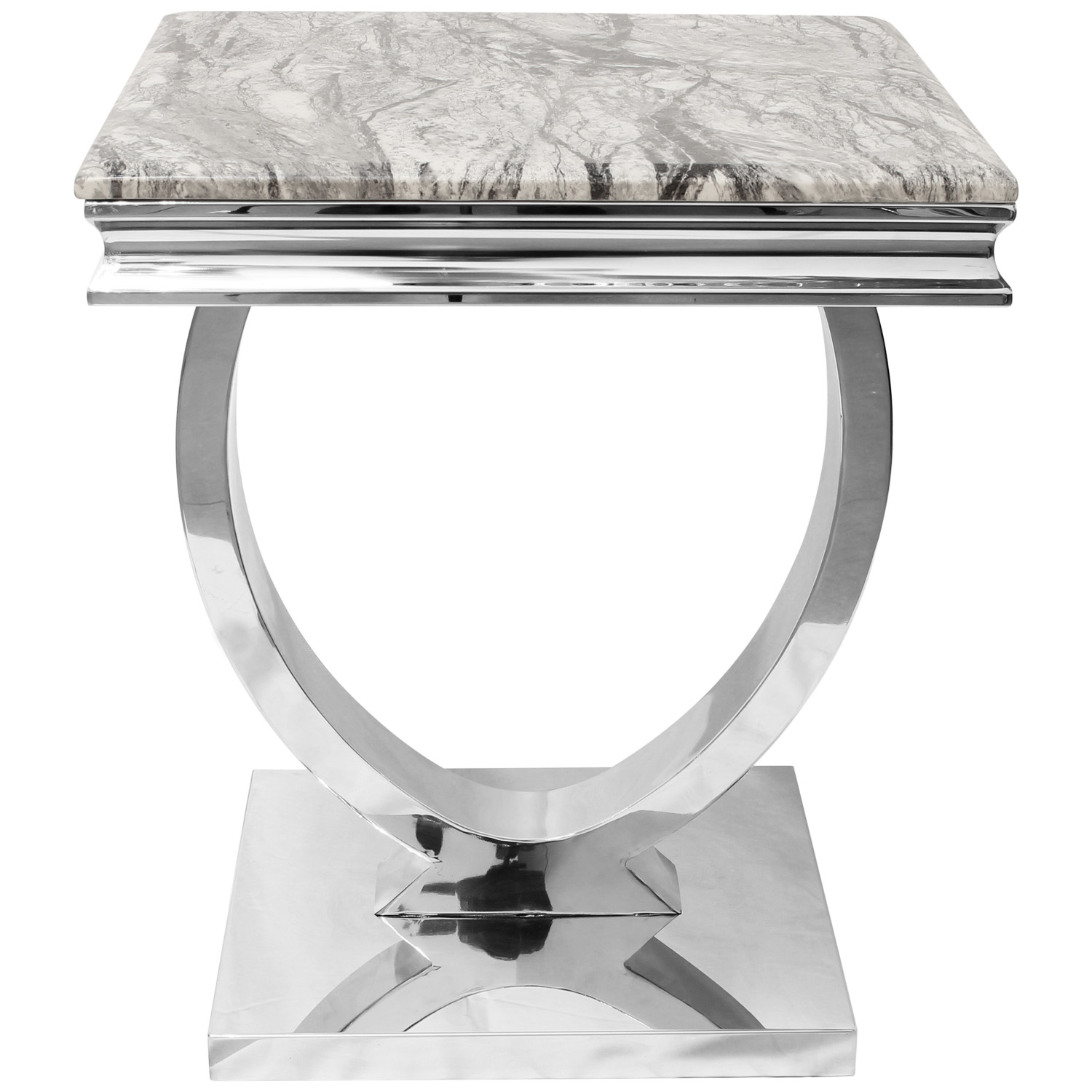 Modern Stainless Steel Side End Table Grey Marble Top Sofa Living