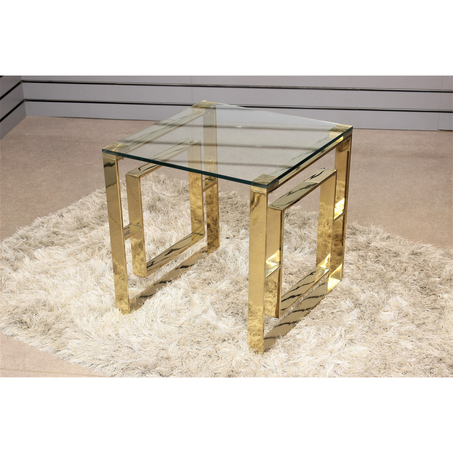 Picture of: Geo Gold Metal End Table Tempered Glass Top Bedside Living Room Home Furniture
