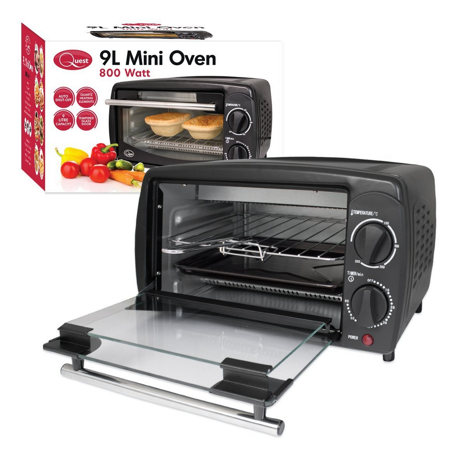 9 litre electric mini oven grill toaster compact machine. Black Bedroom Furniture Sets. Home Design Ideas