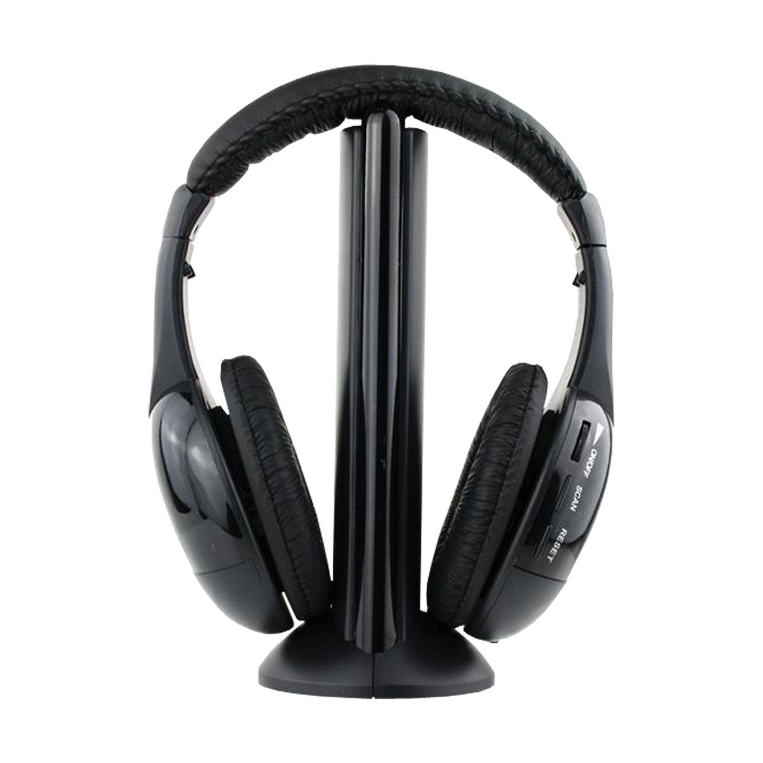 5 in 1 wireless headphones with microphone fm radio over the ear earphone black ebay. Black Bedroom Furniture Sets. Home Design Ideas