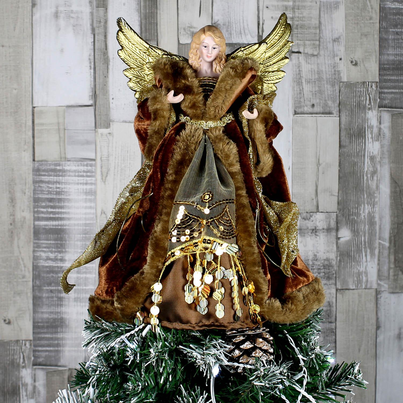 ALBERO-di-Natale-topper-tradizionale-Fata-Angel-Xmas-Tree-Top-Ornamento-Decorazione miniatura 8