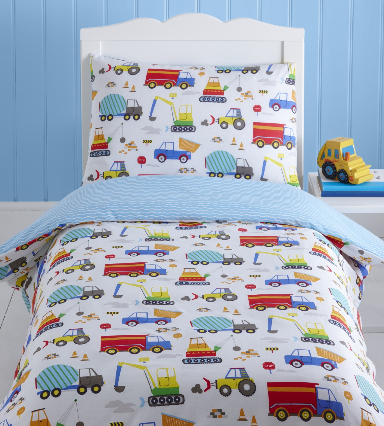 Bright Trucks Baby Boy Kids Toddler Junior Cot Bed Duvet