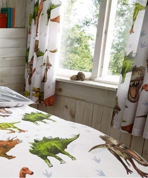 Dinosaurs Dino T Rex Kids Boys Pencil Pleat Bedroom Curtains Set 66 X 72 183cm Ebay