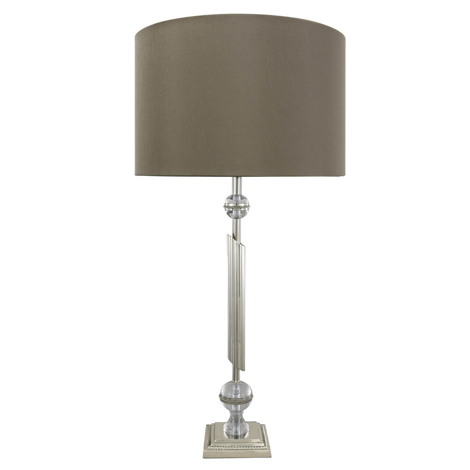 Details About Chrome Spiral Ball Modern Table Lamp With Faux Silk Taupe Shade Vintage Art Deco